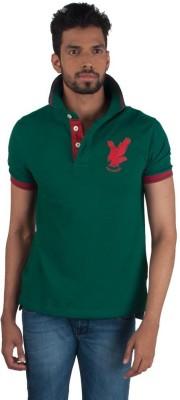 Provogue Solid Men's Round Neck Green T-Shirt