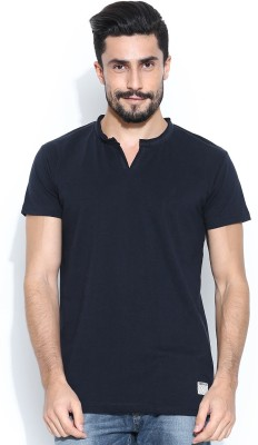 Hubberholme Solid Men's Fashion Neck Dark Blue T-Shirt