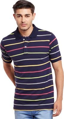 The Vanca Striped Men's Polo Neck Blue T-Shirt