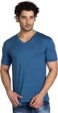 YOO Solid Men's V-neck Blue T-Shirt