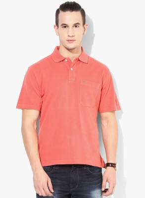 UV&W Solid Men's Polo Neck Pink T-Shirt