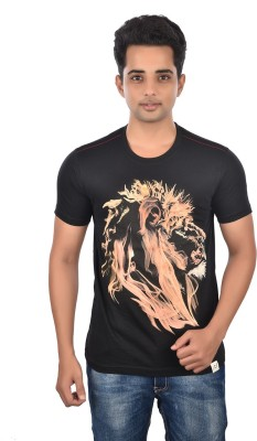 Rockstar Jeans Graphic Print Men's Round Neck Black T-Shirt