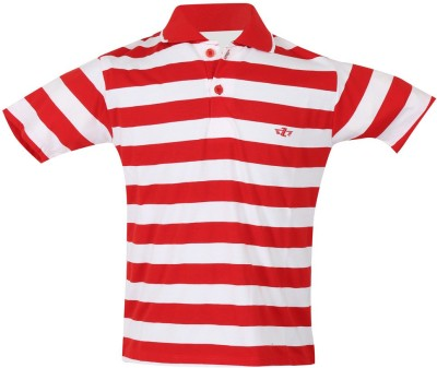 Awack Striped Baby Girl,s Polo Neck Red T-Shirt