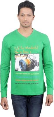 Oviyon Printed Men's V-neck Green T-Shirt