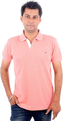 Wells Smith Solid Men,s Polo Pink T-Shirt