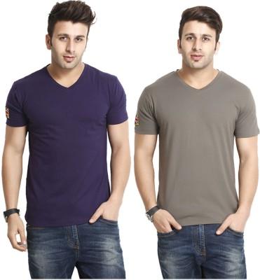 Gritstones Solid Men's V-neck Multicolor T-Shirt