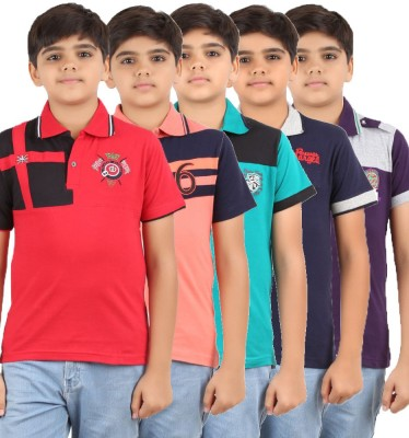 Meril Embroidered Boy's Polo Neck Red, Purple, Dark Blue, Green, Orange T-Shirt
