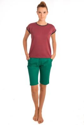 Bombay High Striped Women,s Round Neck Blue, Maroon T-Shirt