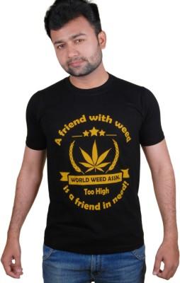 Tymstyle Printed Men,s Round Neck Black, Yellow T-Shirt
