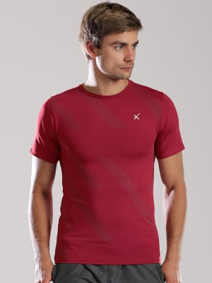 HRX Printed Men's Round Neck Maroon T-Shirt