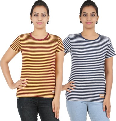 Recca Striped Women,s Round Neck Yellow, Dark Blue T-Shirt