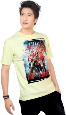 Zootx Printed Men's Round Neck Yellow T-Shirt