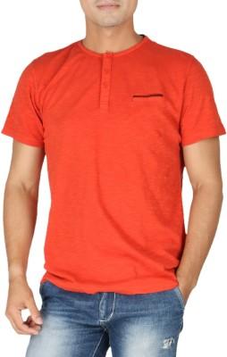 Vettorio Fratini Solid Men,s Mandarin Collar Orange T-Shirt