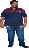 XMEX Striped Men's Polo Neck Red T-Shirt