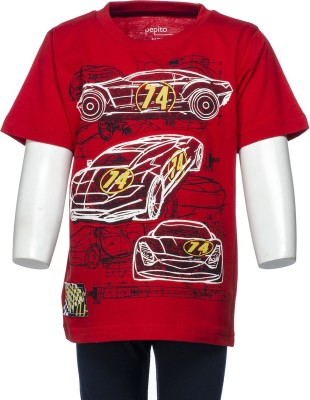 Pepito Printed Boy's Round Neck Red T-Shirt