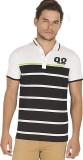 Bonaty Striped Men's Polo Neck Black T-S...