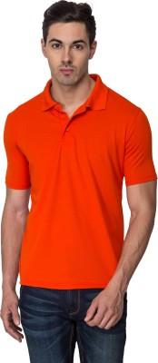 Sulpher Solid Men's Polo Neck Orange T-Shirt