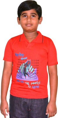 Harsha Avatar Printed Boy's Polo Neck Red T-Shirt
