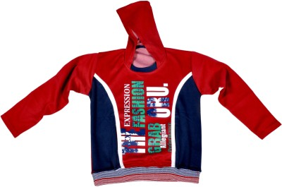 Hey Baby Printed Boy's Hooded Red T-Shirt