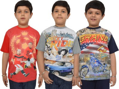 Shaun Striped Boy's Round Neck Multicolor T-Shirt