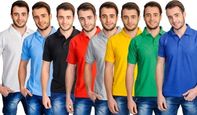 Superjoy Solid Men's Polo Neck White, Green, Red, Blue, Yellow, Black, Light Blue T-Shirt