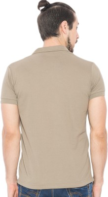 Status Quo Solid Men's Polo Neck Brown T-Shirt