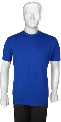 SelfieSeven Solid Men's Round Neck Blue T-Shirt