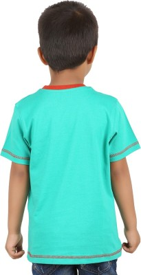 LASTBENCH Solid Boy's Round Neck Green T-Shirt