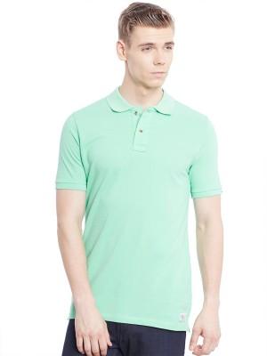 Jogur Solid Men's Polo Neck Green T-Shirt