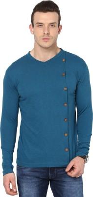 Cherymoya Solid Men's V-neck Light Green, Blue T-Shirt