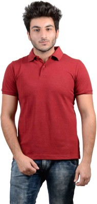 DS WORLD Solid Men's Polo Neck Maroon T-Shirt