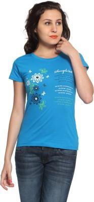 Maatra Printed Women,s Round Neck Blue T-Shirt