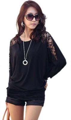 NRG FASHION Solid Women's Round Neck Black T-Shirt