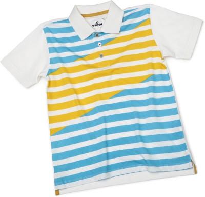 WROGN Striped Boy's Polo Neck White T-Shirt