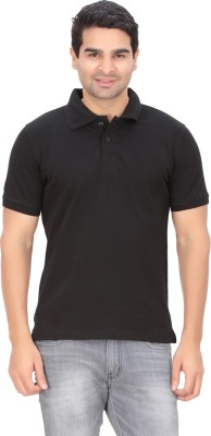 Indian Engineer Solid Men's Polo Neck Black T-Shirt