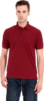Zeug Solid Men's Polo Neck Maroon T-Shirt