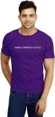 ORKO Solid Men's Round Neck Purple T-Shirt