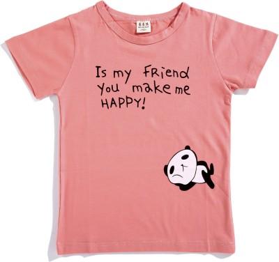 Zonko Style Solid Baby Girl's Round Neck Beige T-Shirt
