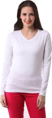 Fashionexpo Solid Women's V-neck White T-Shirt