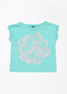 United Colors of Benetton Printed Girl's Round Neck Blue T-Shirt