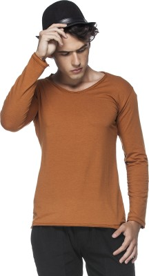 Tinted Solid Men's Round Neck Brown T-Shirt
