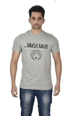 Mogo Apparels Printed Men's Round Neck Grey T-Shirt