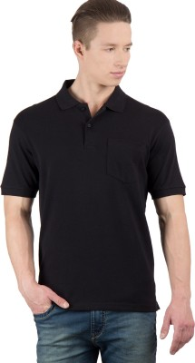 Wilkins & Tuscany Solid Men's Polo Neck Black T-Shirt