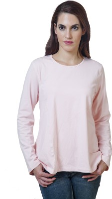 Rute Solid Women's Round Neck Pink T-Shirt