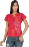 Eimoie Solid Women's Fashion Neck Red T-...