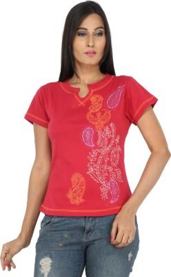Eimoie Solid Women's Fashion Neck Red T-Shirt