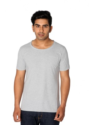 Style Connect Solid Men's Round Neck Grey T-Shirt