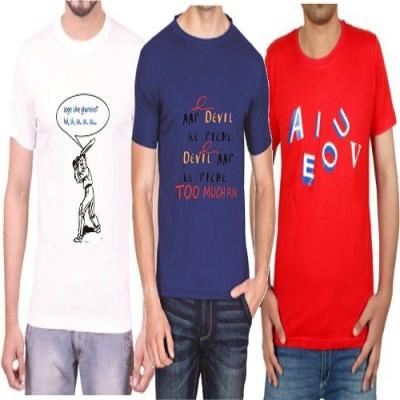 Teeswood Graphic Print Men's Round Neck White, Blue, Red T-Shirt