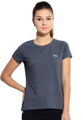 Ativo Solid Women's Round Neck Grey T-Shirt