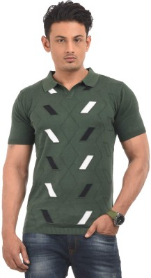 AMX Striped Men's Polo Neck Dark Green T-Shirt